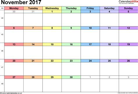 november 2017 calendar weekly calendar template