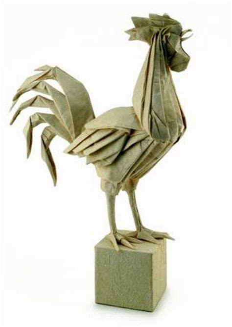 Origami Rooster - engel origami model of a rooster stood in a box i