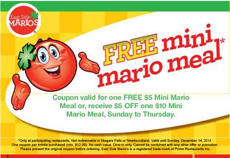 free printable grocery coupons canada only east side mario s canada promotional coupon get a free