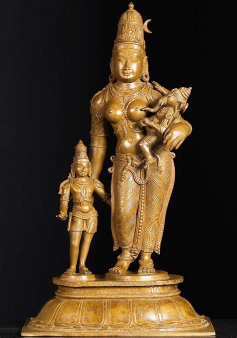 god statue sold bronze parvati with sons murugan ganesh 24 quot 73b24