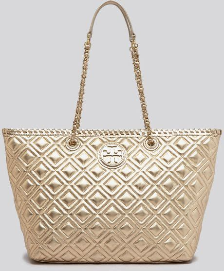 Burch Quilt Small Totepo burch tote small marion quilted metallic in gold lyst
