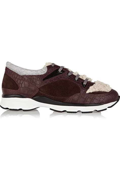schutz sneakers schutz croc effect leather suede and shearling sneakers