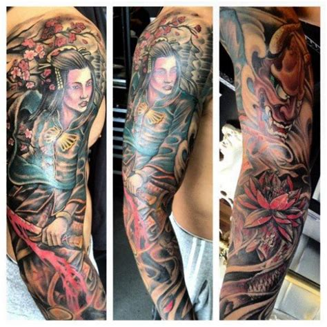 arm japanese samurai tattoo by border line tattoos