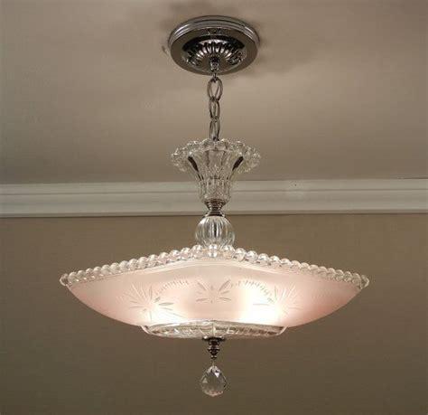 Pink Light Fixtures Vintage American Deco Chandelier Starburst Candlewick Soft Pink Glass Ceiling Light Fixture