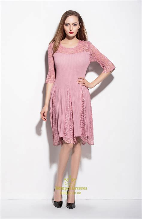 3 4 Sleeve Lace A Line Mini Dress pink lace illusion neckline a line dress with 3 4 sleeve