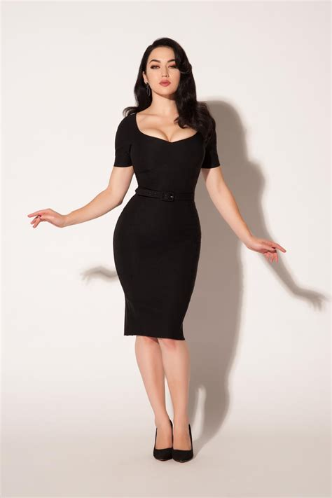 My For The Sweater Dress Couture In The City Fashion by Pinup Couture Priscilla Dress In Black Bengaline Pinup