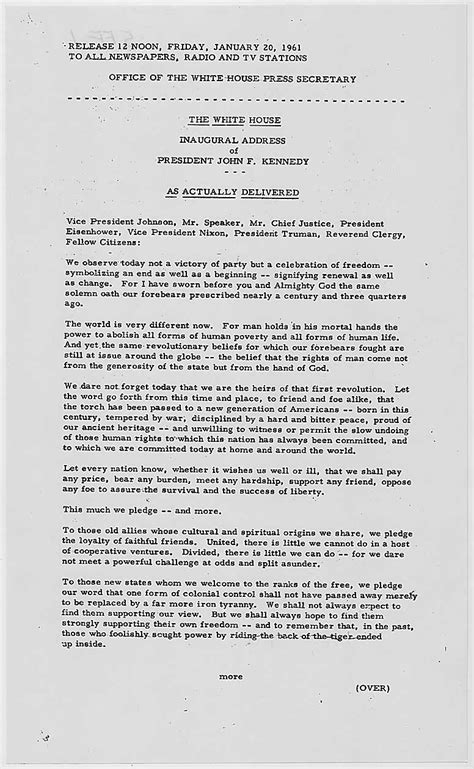 F Kennedy Inaugural Speech Essay by Jfk Inaugural Address Page 1