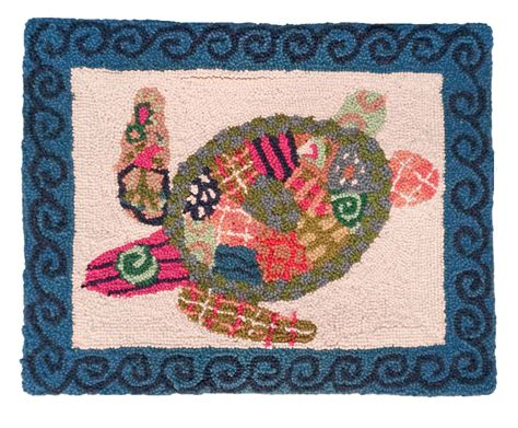 Patchwork By Sea - ncu 900 patchwork sea turtle hooked pillow 16 quot x20 quot