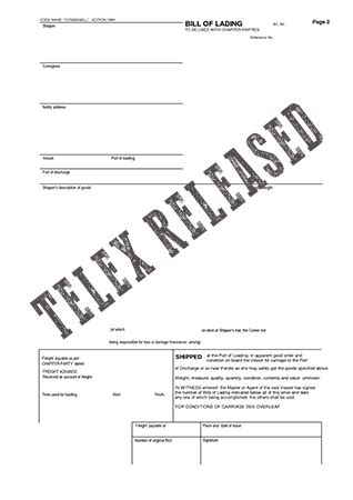 Release Letter Define Telex Release And Master Bill Of Lading