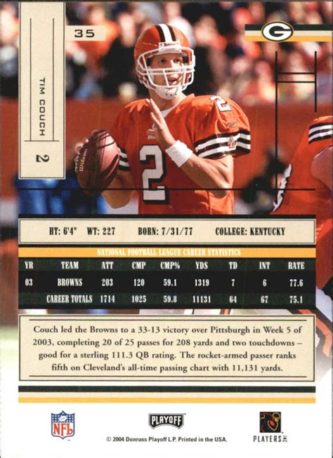 tim couch stats 2004 absolute memorabilia retail 35 tim couch nm mt