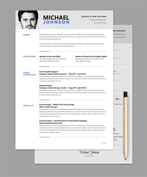 template free resume cv psd template graphicsfuel