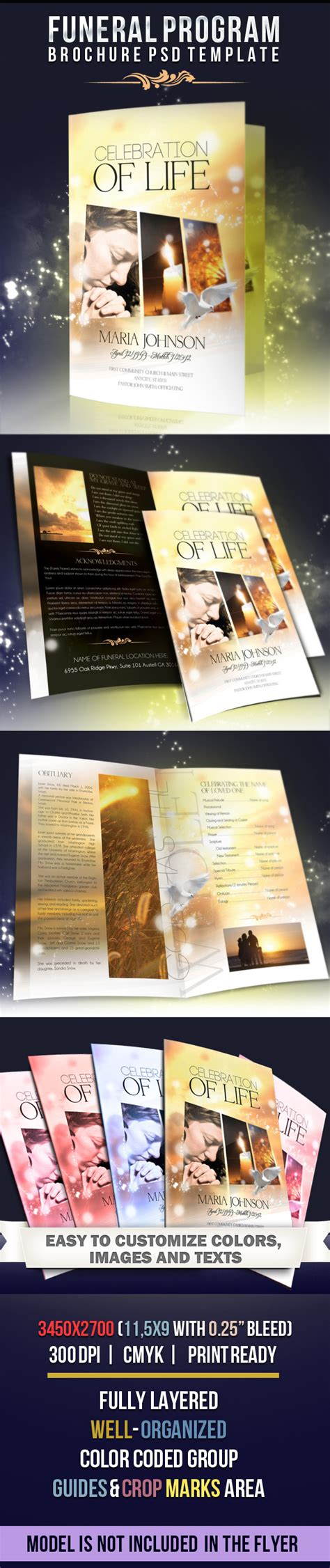 funeral program brochure template celebration of life