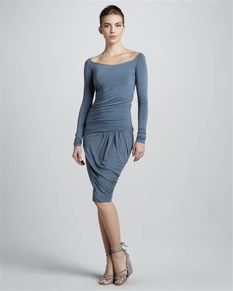 donna karan draped dress donna karan new york draped dropwaist dress in blue