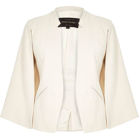 Cape Blazer Jacket Jaket river island smart cape jacket in lyst