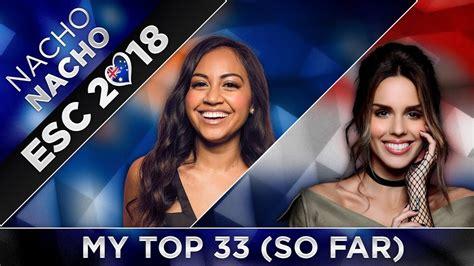 eurovision 2018 top 33 from australia so far
