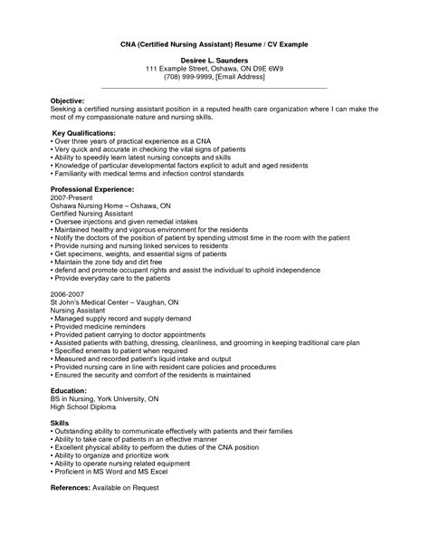 Sample Resume For Nursing Job cna resume template microsoft word all templates deal