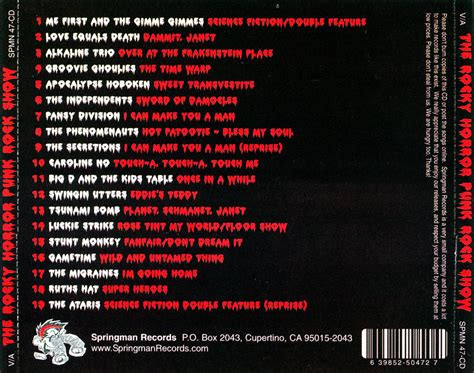 back of cd rockymusic the rocky horror rock show cd back