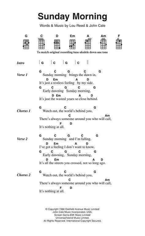 ukulele tutorial sunday morning sunday morning sheet music by the velvet underground