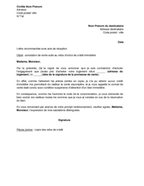 Lettre De Garantie Bancaire Pour Visa Lettre D Annulation De La Vente Immobili 232 Re Suite Au Refus De Cr 233 Dit Et Demande De Restitution
