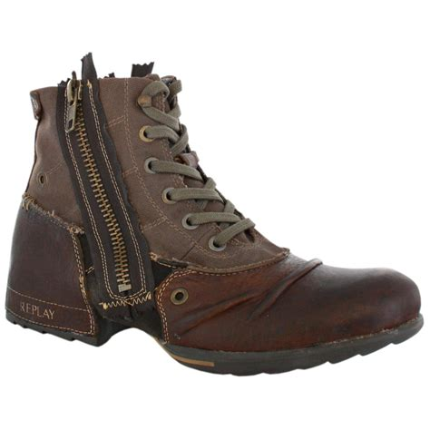 replay mens boots replay clutch brown mens leather zip boots shoes ebay