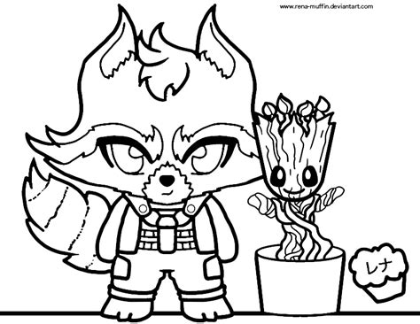 coloring page baby groot rocket and groot coloring sheet by rena muffin on