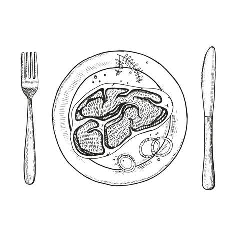 2501116569 un couteau un plat une bifteck d un plat avec une fourchette et un couteau dessin