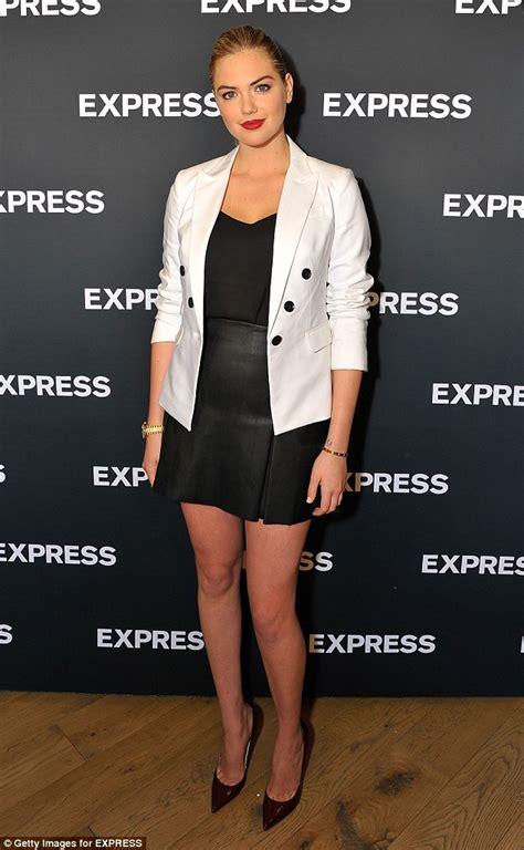 alex wilson in white dress kate upton shows model legs in black leather mini