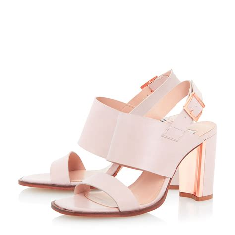 blush colored sandals dune maizie metal trim block heel sandal in pink lyst
