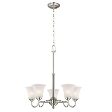 commercial electric chandelier commercial electric 5 light brushed nickel chandelier