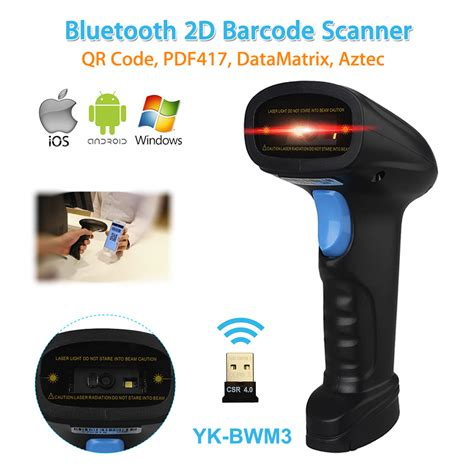 bar scanner for android aliexpress buy yk bwm3 wireless 2d bluetooth barcode scanner usb 4mil qr code reader pos