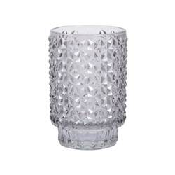 Pillar Votive Candle Holders 13cm Faceted Glass Tinted Candle Holder Tealights Pillar