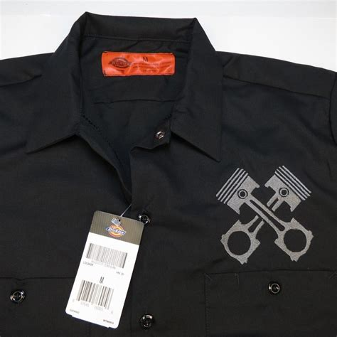 Custom Garage Work Shirts by New Nwt Dickies Embroidered Pistons Mechanic Pit Crew Car