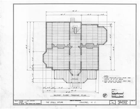 Second Floor Framing Plan John Milton Odell House Concord North Carolina John