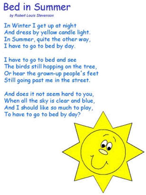 bed in summer bed in summer by robert louis stevenson