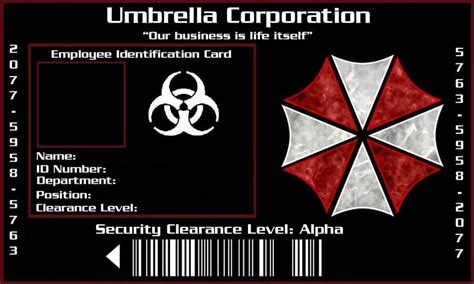 umbrella corporation id card template umbrella corporation id by xaphriel on deviantart