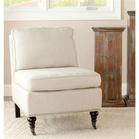 White Slipper Chair by Safavieh Randy White Linen Slipper Chair Mcr4584d