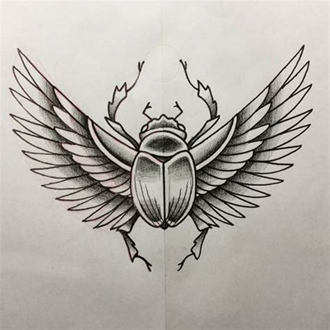 awesome grey ink winged scarab bug tattoo design
