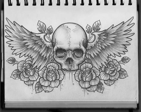final section of a musical piece skull and wings chest design by frosttattoo on deviantart