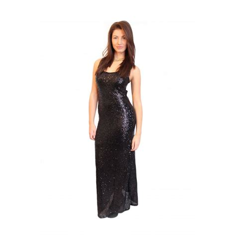 black sequin embellished floor length bodycon dress from