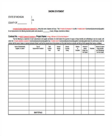 sworn statement exle 32 sworn statement templates sle templates