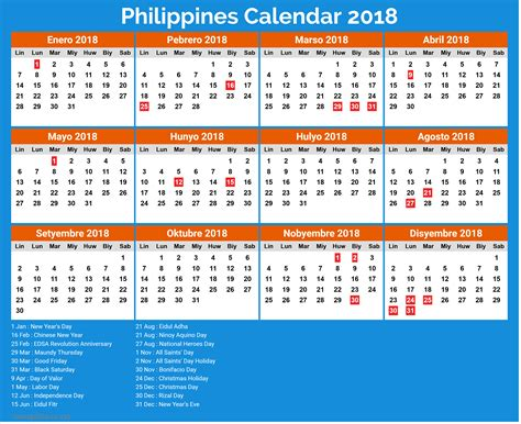 Calendar 2018 Philippines With Holidays Awesome Calendar Philippines 2018 Calendar