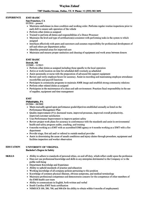 Emt Resume by Emt Resume Gallery Cv Letter And Format Sle