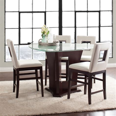 glass counter height dining table najarian soho five counter height dining set with