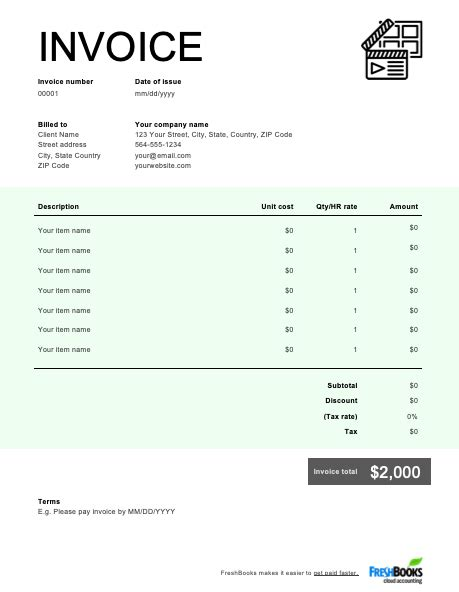videography invoice template   send  minutes