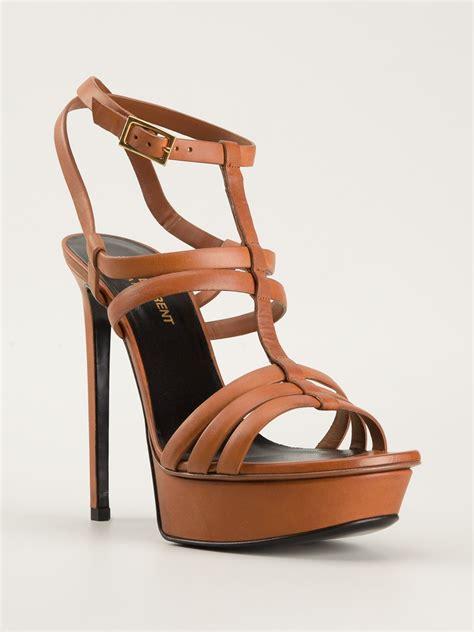 brown platform sandals laurent strappy platform sandals in brown lyst