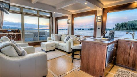 Open Floor Plan House Designs by Crossover Yachts Luxury Houseboat Cruising Trimaran