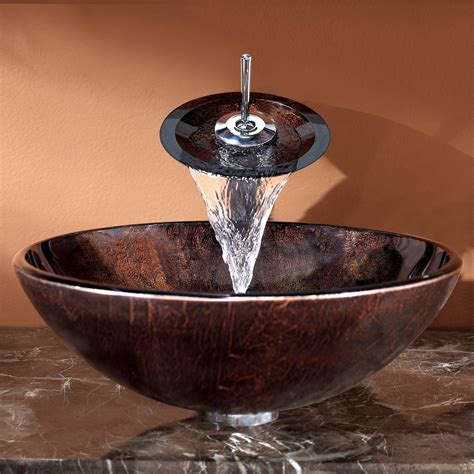 vessel sink and faucet combo kraus vessel sink and waterfall faucet combo