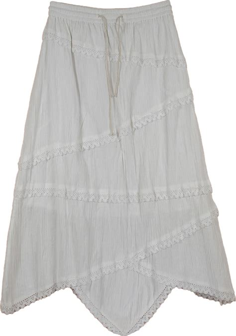 uneven edge a line denim skirt uneven laced indian white skirt clothing sale on