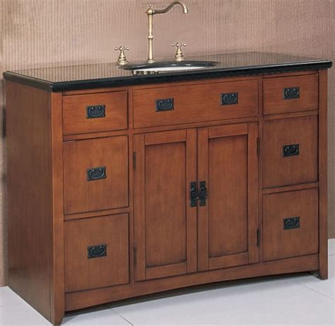 48 Inch Bathroom Vanity Cabinet 48 Inch Wide Mission Style Single Sink Vanity In Spice Oak Finish Contemporary Bathroom