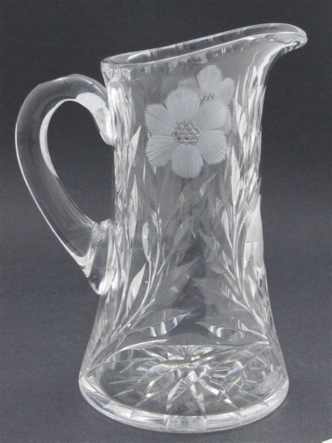 flower pattern glass cut glass pitcher antique hand cut crystal floral